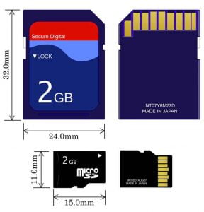 Comparación de tamaños entre tarjeta SD y MicroSD